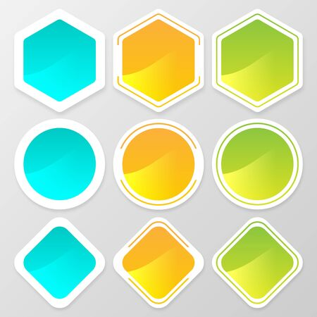 hexagonal shaped: Web button shape set for website or app. Vector illustration Illustration