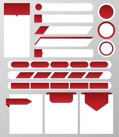 Collection of website elements?: text box, button, banner, text bar, navigation bar, label. Vector illustration Illusztráció