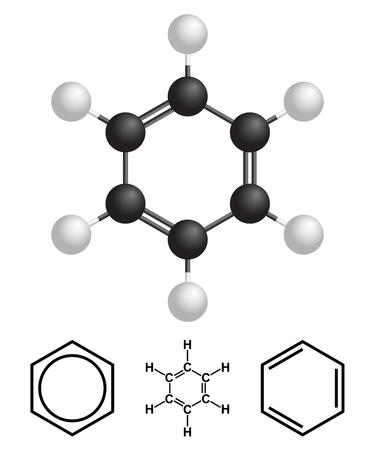 Benzene Structure, formula isolated on white background. Vector Illustration.
