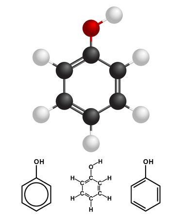 Phenol Structure, formula on white background. Vector Illustration.
