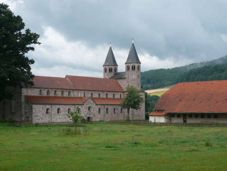 Old monastery with two towers Stockfoto