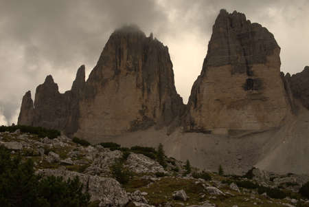 Three peaks of lavaredo in front of cloudy sky
