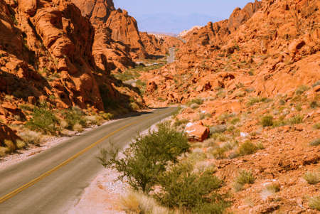 bush fire: The road through the fiery rocks.Valley of Fire State Park, Nevada, USA