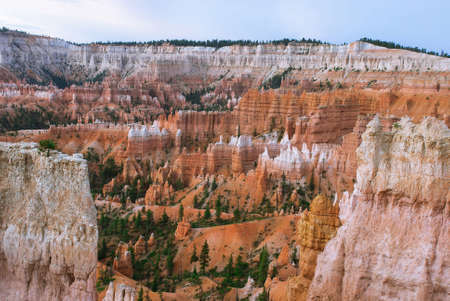 canyon: View of Bryce Canyon from the point of sunrise. Until sunrise a few minutes, Utah, USA Stock Photo