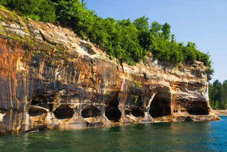 pictured: Upper Peninsula, washout  in the rocks Superior Lake, Michigan, USA