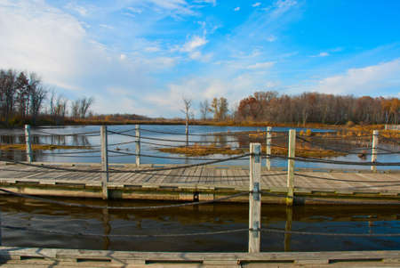observe: Pontoon bridge to observe the birds on  Horicon Marsh,Wisconsin