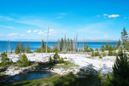 View of the Yellowstone Lake from the West Thumb Geyser Basin, Yellowstone National Park