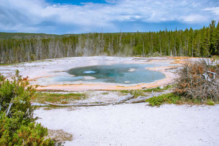 Solitary Geyser preparing to eruption,  Upper Geyser Basin, Yellowstone National Park