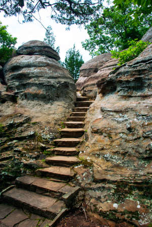 stock photo stone steps in rocks of garden of the gods wilderness in shawnee national forest illinois usa - Shawnee National Forest Garden Of The Gods