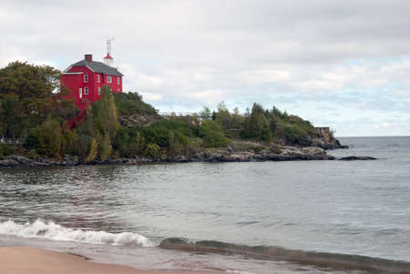 View of the Marquette Harbor Lighthouse from the shore, Lake Superior, Michigan, USA