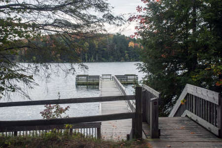 petes: A view of the pier and the Petes Lake from the Campground, Hiawatha National Forest, Michigan, USA Stock Photo