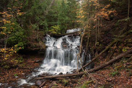 Beautiful and popular Wagner Falls, Alger County, Munising, Michigan, USA Stock Photo
