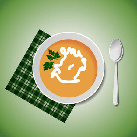 soup spoon: A bowl of soup with a spoon and a napkin