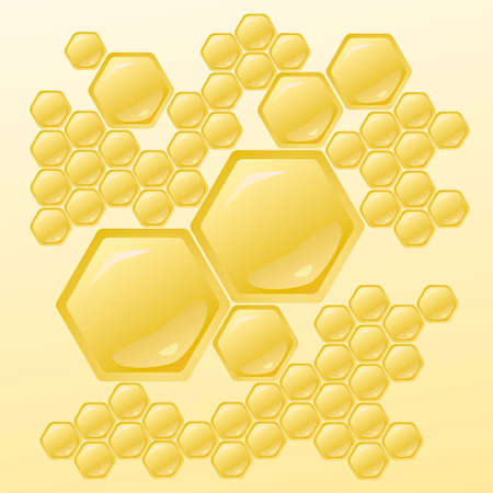 wax glossy: Honeycomb background, wallpaper, Illustration with Honeycombs.