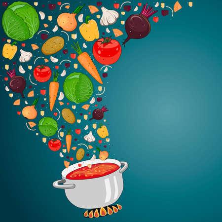 Cottura della minestra con le verdure. Verdure cadono nel piatto. Ricetta Zuppa. Spazio per il testo