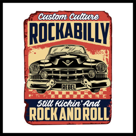 Rockabilly was created with vector format. Can be used for digital printing and screen printing
