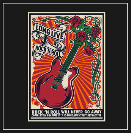 Long Live Rock and Roll was created with vector format. Can be used for digital printing and screen printing