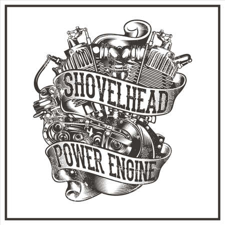 SHOVELHEAD POWER ENGINE was created with vector format. Can be used for digital printing and screen printing