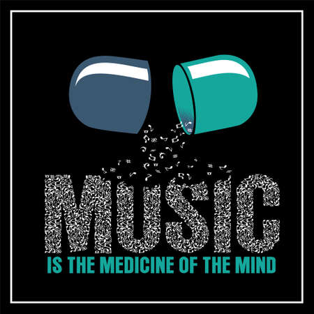 Music is the Medicine was created with vector format. Can be used for digital printing and screen printing