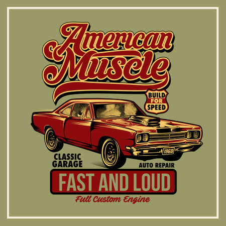 American Muscle was created with vector format. Can be used for digital printing and screen printing