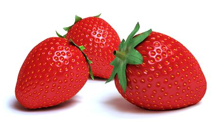 strawberies: A closeup look of 3 red ripe strawberies