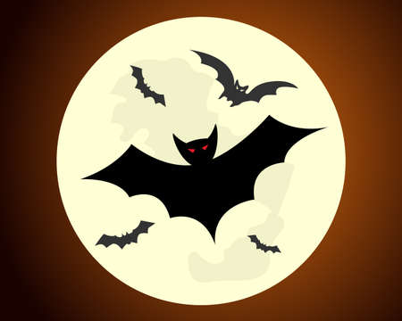red eyes: Halloween illustration - red eyes bats flying on full moon background