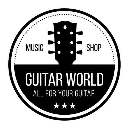 Guitar world musical instruments shop vector logo