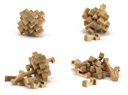 disjoint: Wooden 3D puzzle for children on white background Stock Photo