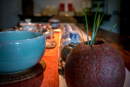 sencha: Traditional chinese tea making in dark with soft focus Stock Photo
