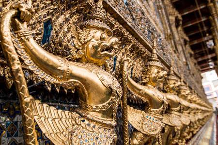 garuda: Gold Garuda in Wat Pra Kaew , Bangkok , Thailand Stock Photo