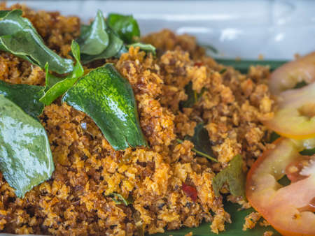 Fried catfish, Stir Prickig cooked by spicy ingredient source with many herbs, major favourite are slightly sweet, one of delicious Thai food