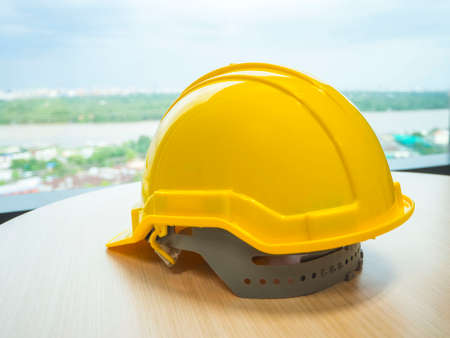 head protection: The yellow safety helmet concept security and protection