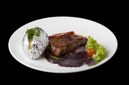 beefsteak: Cooked beefsteak Stock Photo