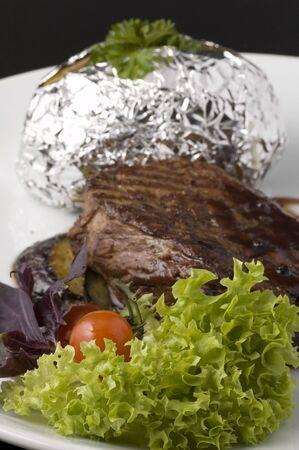 Cooked beefsteak photo