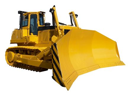New yellow bulldozer isolated on white photo