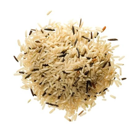 Closeup of long rice mixed with wild rice isolated on white