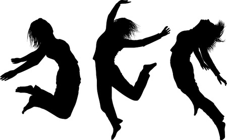 Some silhouettes of jumping girls Stock Vector - 3779361