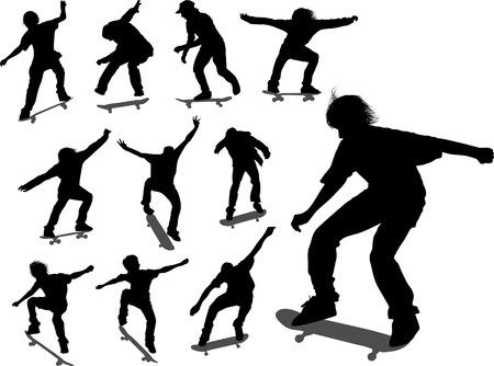freeride: Siluetas de algunos skateboarders en diferentes momentos Vectores