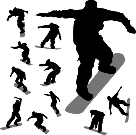 Some silhouettes of snowboarders in different moments