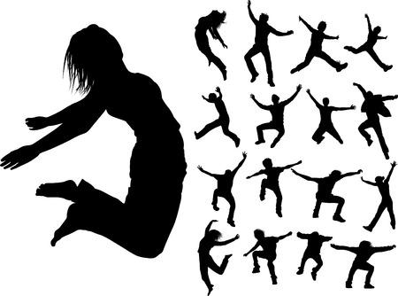 Some silhouettes of jumping girls and boys Ilustração Vetorial