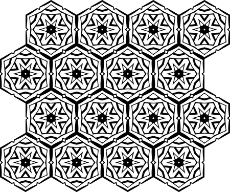 hexahedral: Seamless black vector background from iterative tiles