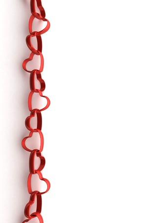 Valentine Grußkarte mit einer Kette aus roten Herzen und copyspace Standard-Bild - 4148638