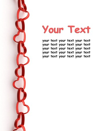 Valentine greeting card with a chain of red hearts and copyspace