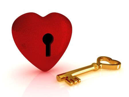 Key from the heart (render with red heart and golden key near it) photo