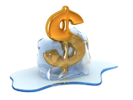 Render of unfreezing dollar sign (end of crisis)   Stock Photo