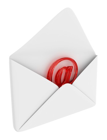 Red e-mail sign in the opened envelope
