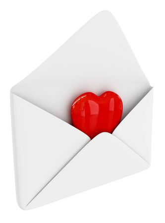Red heart sign in the envelope isolated on white Stock Photo - 4239639
