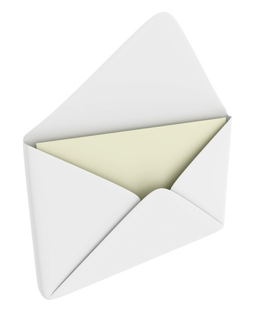 postbox: Opened envelope with blank paper (mail theme)