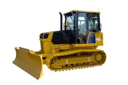New yellow bulldozer isolated on pure white