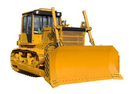 New yellow bulldozer isolated on pure white  photo